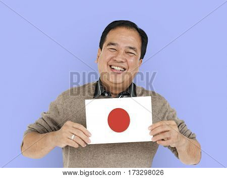 Man Hands Hold Japane Japanese Flag Patriotism