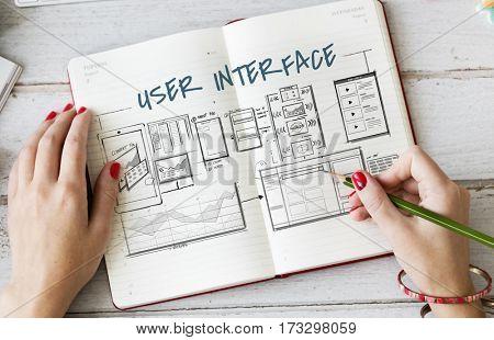 Web template layout draft sketch