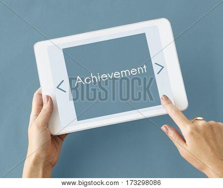Achievement success development word concept