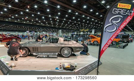 DETROIT MI/USA - February 25 2017: A 1966 Chevrolet Corvette car interpretation,