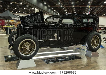 DETROIT MI/USA - February 25 2017: A 1932 Ford Tudor sedan interpretation,