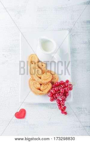 Heart-shaped biscuits wiith sugar and cinnamon for Valentine's Day