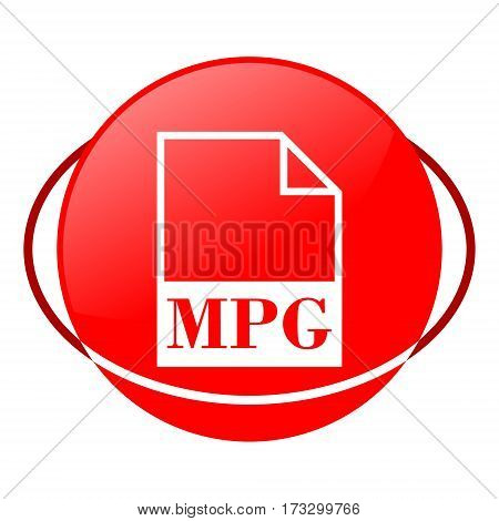 Red icon, mpg file vector illustration on white background