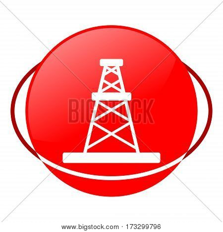 Red icon, oil rig vector illustration on white background