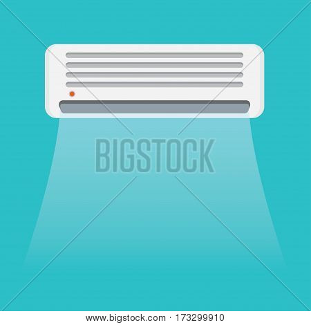 Best air conditioner on blue background with cold air vector illustration
