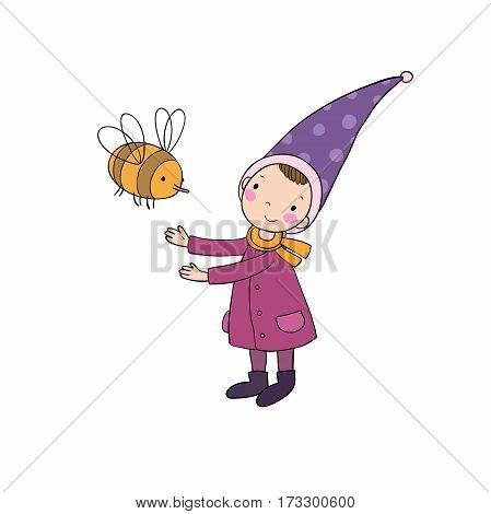 Cute little gnome and a bumblebee. isolated objects on white background. Vector illustration.