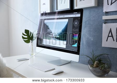 Comfortable workplace with computer