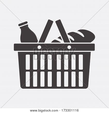 Shopping basket. Vector icon isolated on grey background.