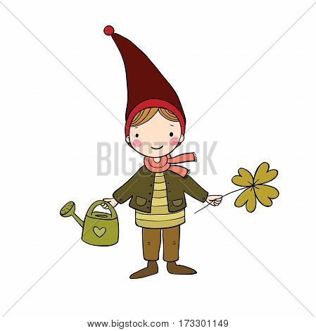 Cute little gnome with clover and watering. isolated objects on white background. Vector illustration.