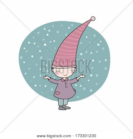 Cute little gnome. Elf and snow. isolated objects on white background. Vector illustration.
