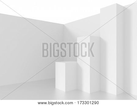 Minimalistic Interior Design. White Abstract Background. 3d Illustration of Creative Engineering Concept