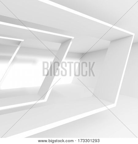 3d Rendering of White Building Construction. Abstract Architecture Background. Creative Engineering Concept