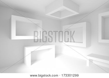 Abstract Interior Design. White Futuristic Background. 3d Illustration of Creative Engineering Concept