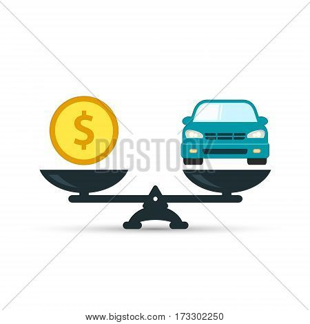 Car and money on scales icon vector. Scales with car and dollar coin in flat style. Buying car concept.