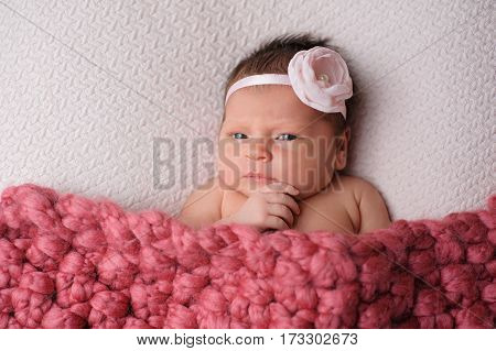 Studio portrait of an alert nine day old newborn baby girl. She has her hand on her chin with an expression of contemplation.