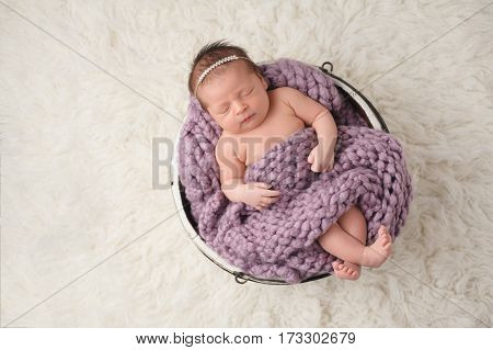 A nine day old newborn baby girl sleeping in a little wooden bucket. She is covered with a lavender colored chunky blanket. Shot in the studio on a flokati rug background.