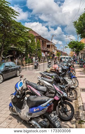 Ubud, Indonesia - August 29, 2008: Parking With A Lot Of Motorbikes
