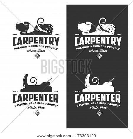 Carpentry vintage labels set. Design elements for shop advertising and branding. Monochrome vector illustration.