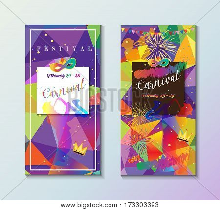 Set Carnival, Festival, Masquerade poster design. Design with confetti, musicians, carnival mask, crown, exotic tropical colorful frame background. Brazilian carnival Vector banners