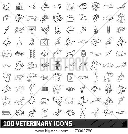 100 veterinary icons set in outline style for any design vector illustration