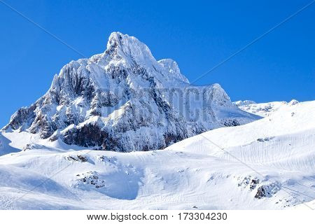 Aspe Peak Covered Of Snow In Candanchu, Pyrenees, Spain