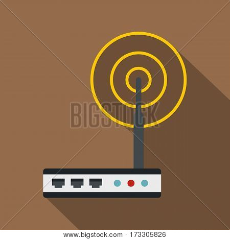 Wifi router icon. Flat illustration of wifi router vector icon for web