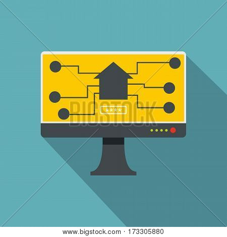 Monitor chip icon. Flat illustration of monitor chip vector icon for web