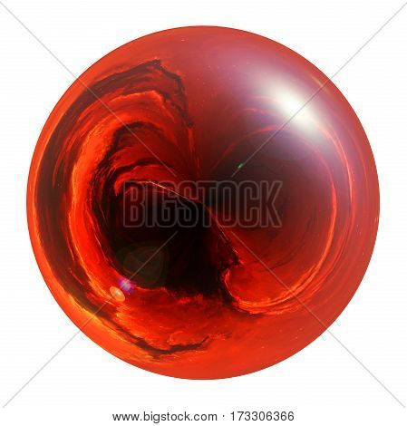 Illustration of red fiery glossy sphere isolated on white background
