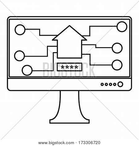 Monitor chip icon. Outline illustration of monitor chip vector icon for web