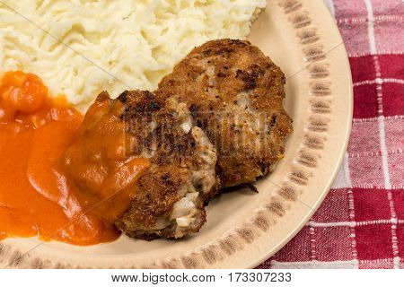 Minced Meat Meatballs With Tomato Sauce On The Plate