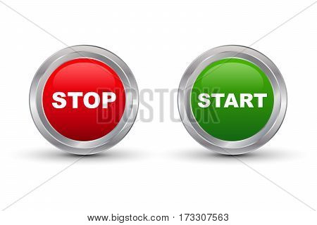 Start Stop Glossy Button Vector illustration with shadow