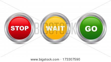 Stop Wait Go Glossy Button Vector illustration