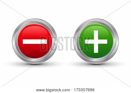 Plus and minus glossy button vector illustration