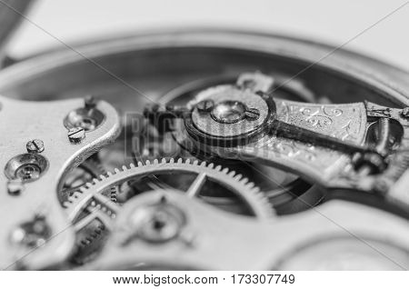 Old Vintage Pocket Watch And Very Small Gear Inside