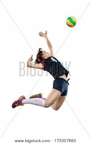 Female volleyball player in the air before hitting the ball isolated on white background