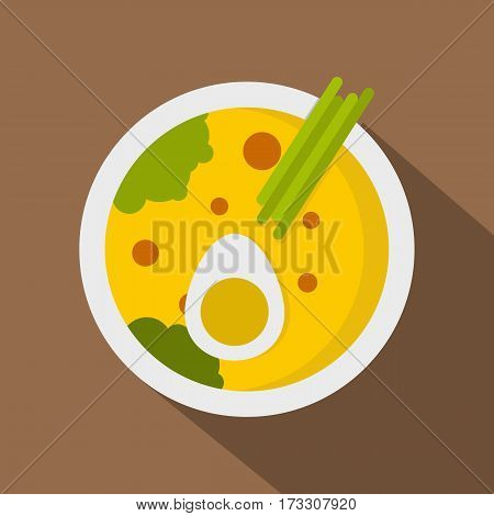 Miso soup icon. Flat illustration of miso soup vector icon for web