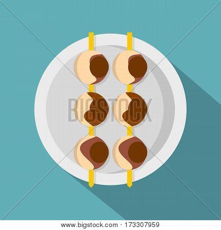 Asian shashlik icon. Flat illustration of asian shashlik vector icon for web