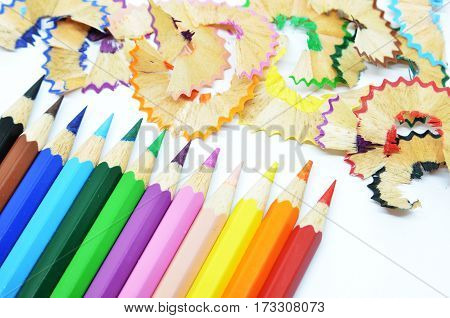 Sharpened Color Pencil And Wood Shavings