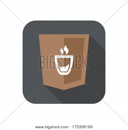 web development shield sign coffee cup symbol isolated icon on grey badge with long shadow