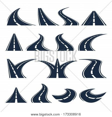 Isolated black color road or highway with dividing markings on white background vector illustrations set