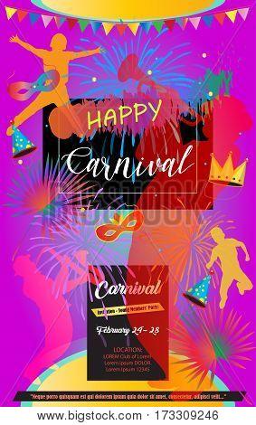 Carnival, Music Festival, Masquerade poster, invitation design. Design with musicians, happy kids, confetti, carnival mask, crown, fireworks, garland frame. Vector