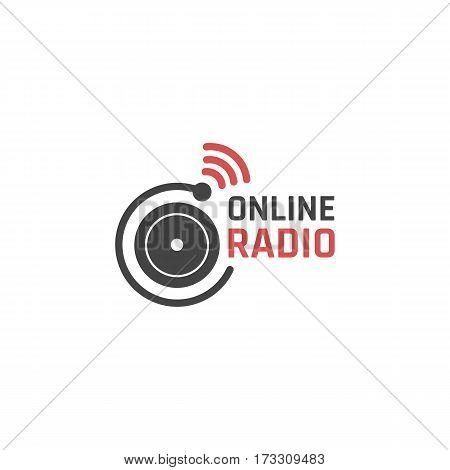 Online radio icon or logo design. Vector