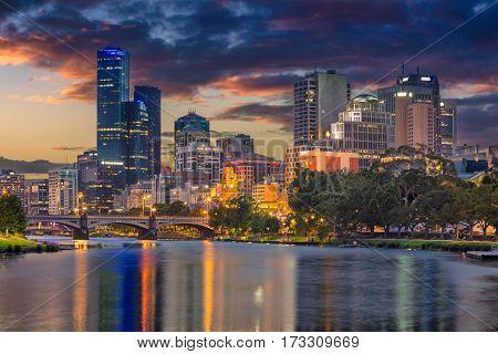 Melbourne. Cityscape image of Melbourne, Australia during summer sunset.