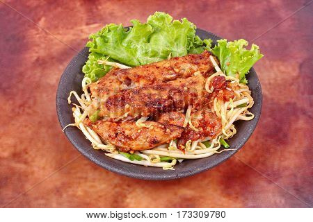 Fried Steamed Grated Radish With Shallot And Bean Sprouts.