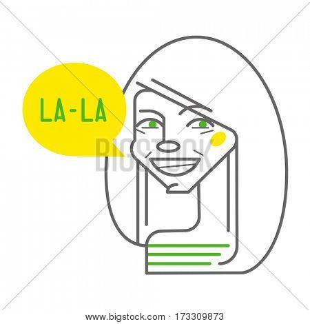 line portrait of girl with la la chat box