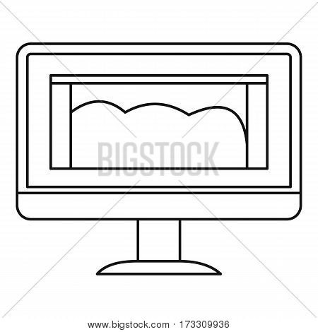 Drawing monitor icon. Outline illustration of drawing monitor vector icon for web