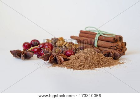 set for mulled wine on white background