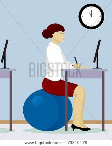 woman in office on fitball vector illustration