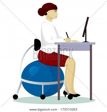woman in office on fitball chair isolated vector illustration