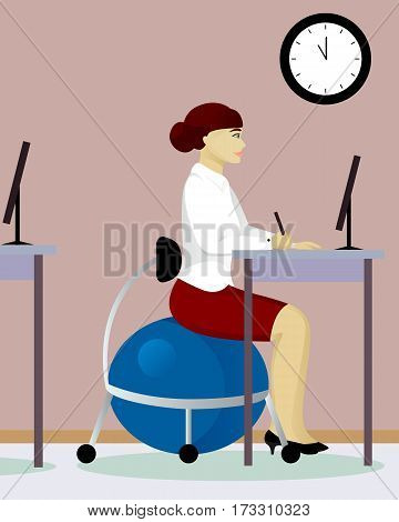 woman in office on fitball chair vector illustration